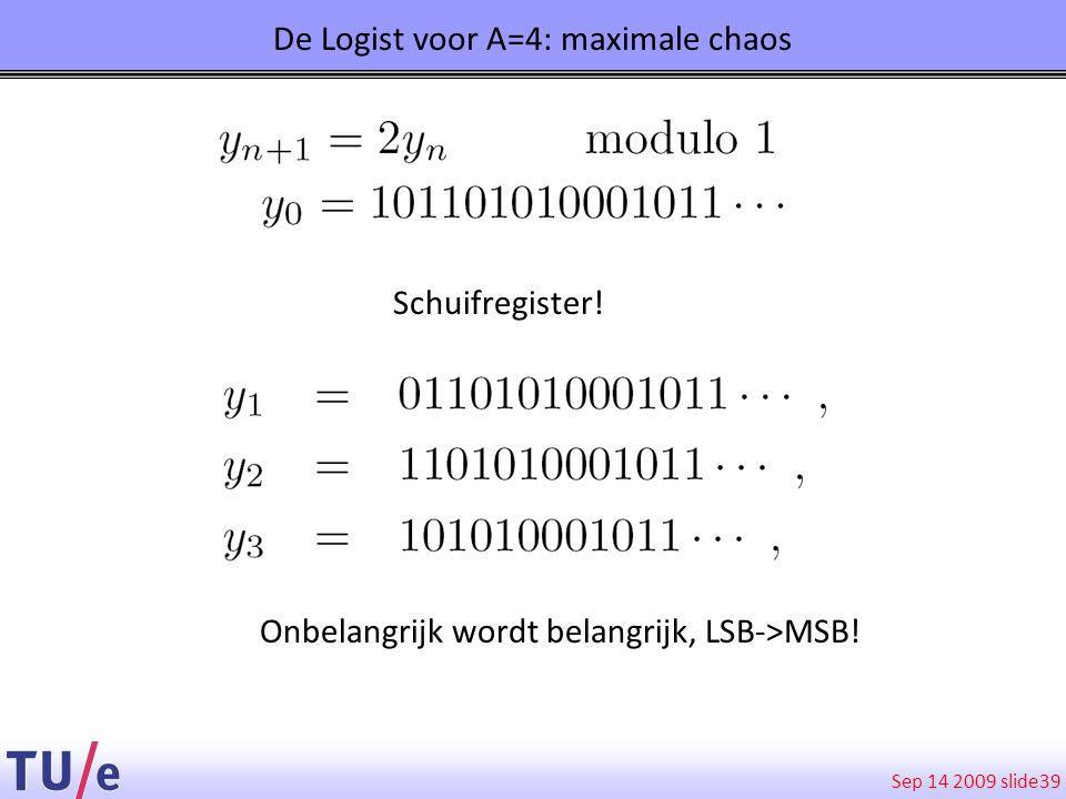 Sep 14 2009 slide 39 De Logist voor A=4: maximale chaos Schuifregister! Onbelangrijk wordt belangrijk, LSB->MSB!