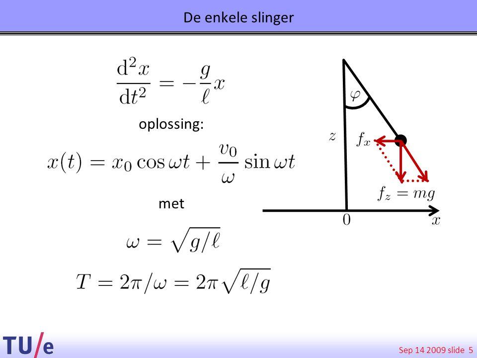 Sep 14 2009 slide 5 De enkele slinger oplossing: met