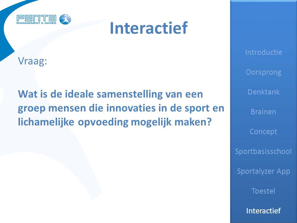 Interactief Introductie Oorsprong Denktank Brainen Concept Sportbasisschool Sportalyzer App Toestel Interactief Introductie Oorsprong Denktank Brainen