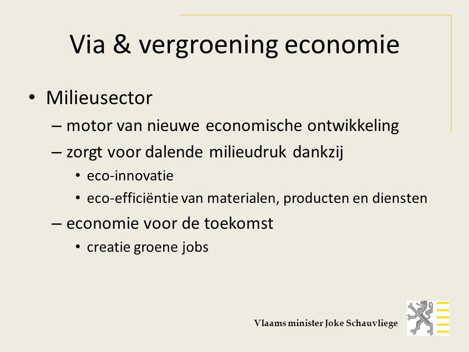 Via & vergroening economie Milieusector – motor van nieuwe economische ontwikkeling – zorgt voor dalende milieudruk dankzij eco-innovatie eco-efficiëntie van materialen, producten en diensten – economie voor de toekomst creatie groene jobs Vlaams minister Joke Schauvliege