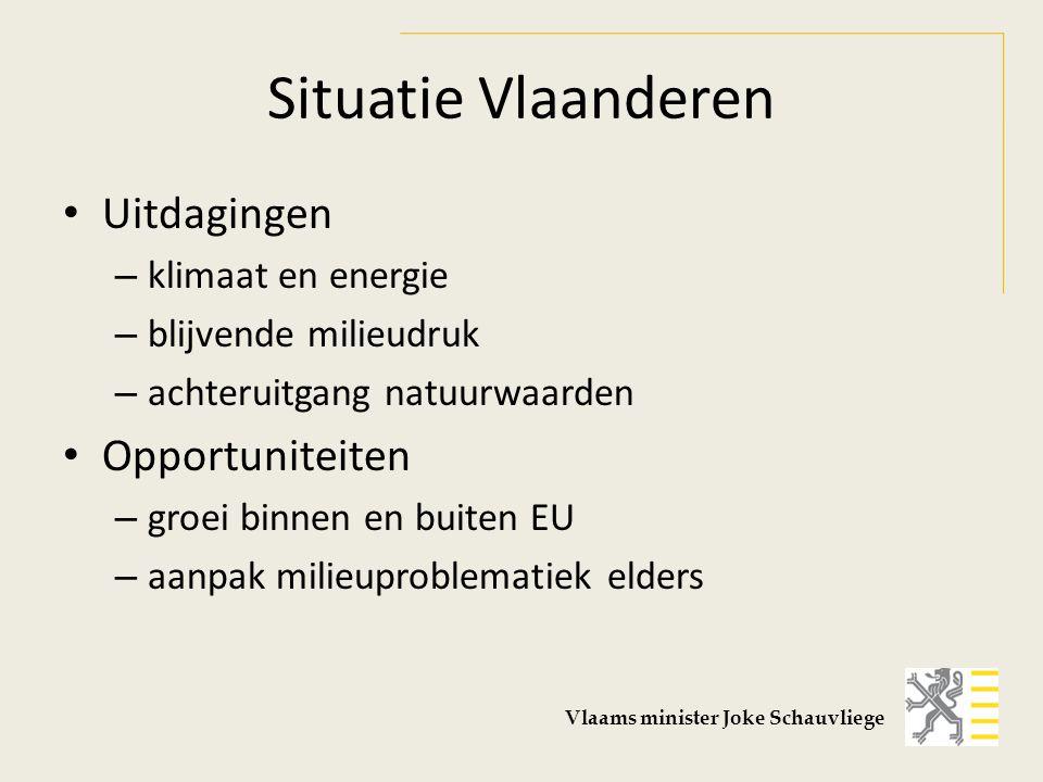 Situatie Vlaanderen Uitdagingen – klimaat en energie – blijvende milieudruk – achteruitgang natuurwaarden Opportuniteiten – groei binnen en buiten EU – aanpak milieuproblematiek elders Vlaams minister Joke Schauvliege