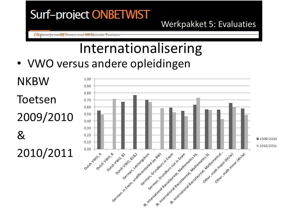 Werkpakket 5: Evaluaties Internationalisering VWO versus andere opleidingen NKBW Toetsen 2009/2010 & 2010/2011