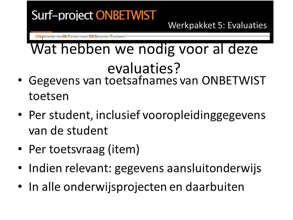 Werkpakket 5: Evaluaties Wat hebben we nodig voor al deze evaluaties.