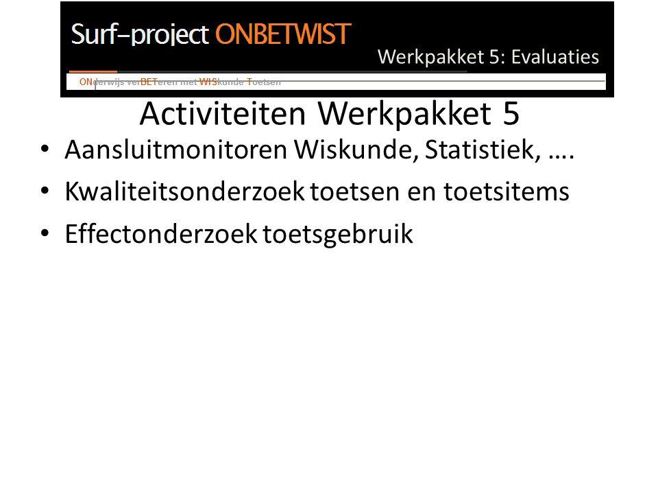 Werkpakket 5: Evaluaties NKBW voorbeeld monitor Monitor: kennis in de tijd (UM, instaptoets bachelor bedrijfskunde/economie) 3TU toets 2005, WiA12 leerstof