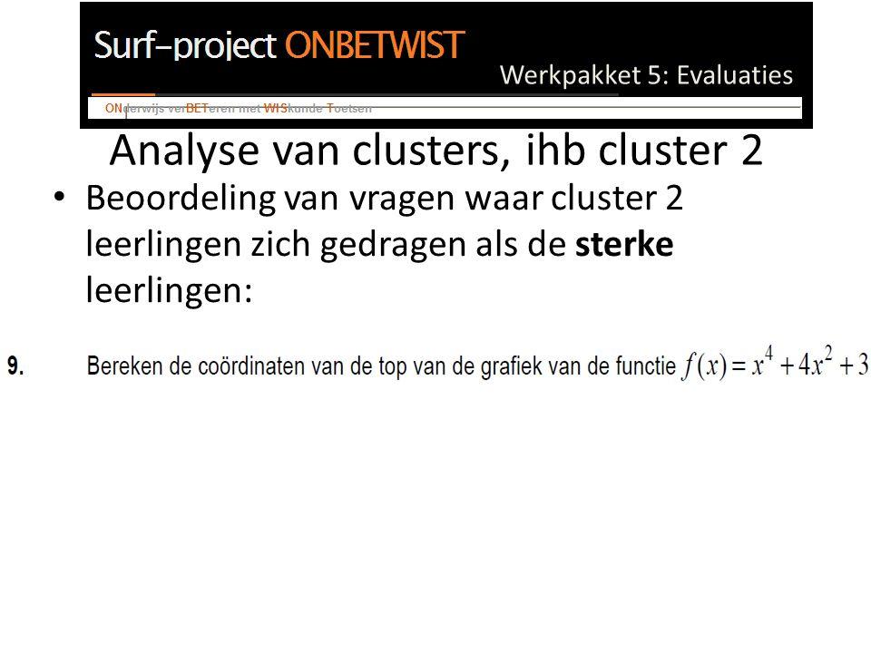 Werkpakket 5: Evaluaties Analyse van clusters, ihb cluster 2 Beoordeling van vragen waar cluster 2 leerlingen zich gedragen als de sterke leerlingen: