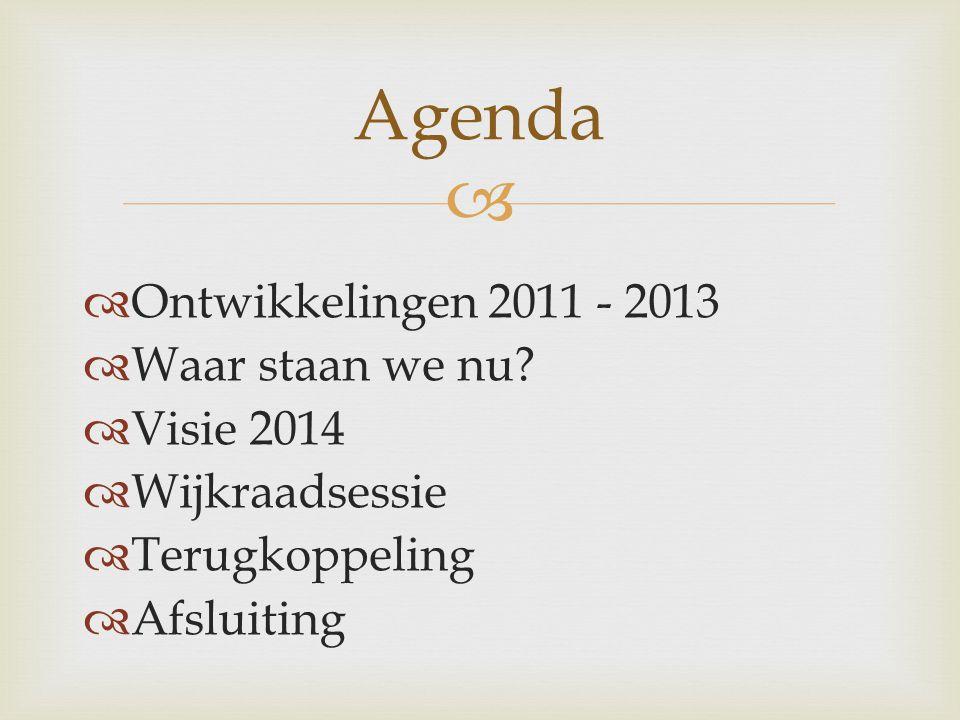   Ontwikkelingen 2011 - 2013  Waar staan we nu.