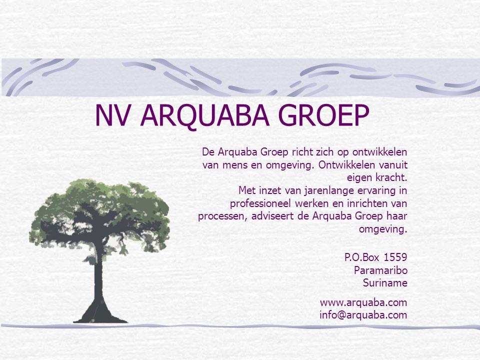 NV ARQUABA GROEP P.O.Box 1559 Paramaribo Suriname www.arquaba.com info@arquaba.com De Arquaba Groep richt zich op ontwikkelen van mens en omgeving. On