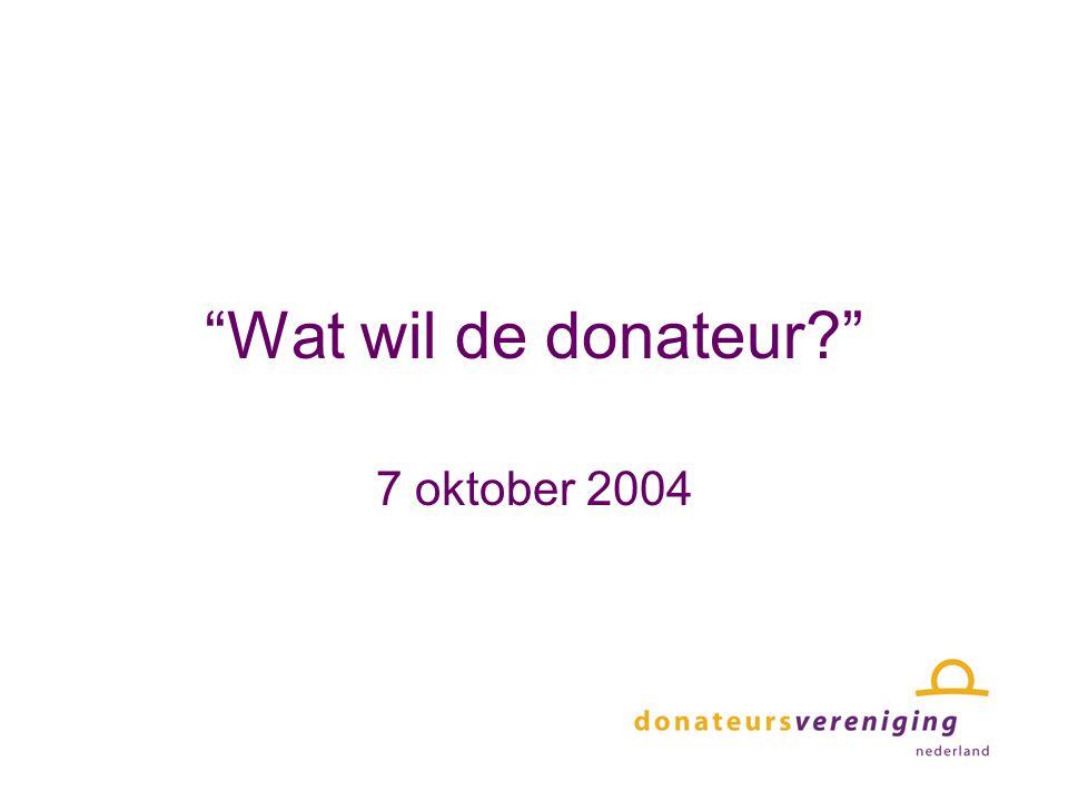 Wat wil de donateur? 7 oktober 2004