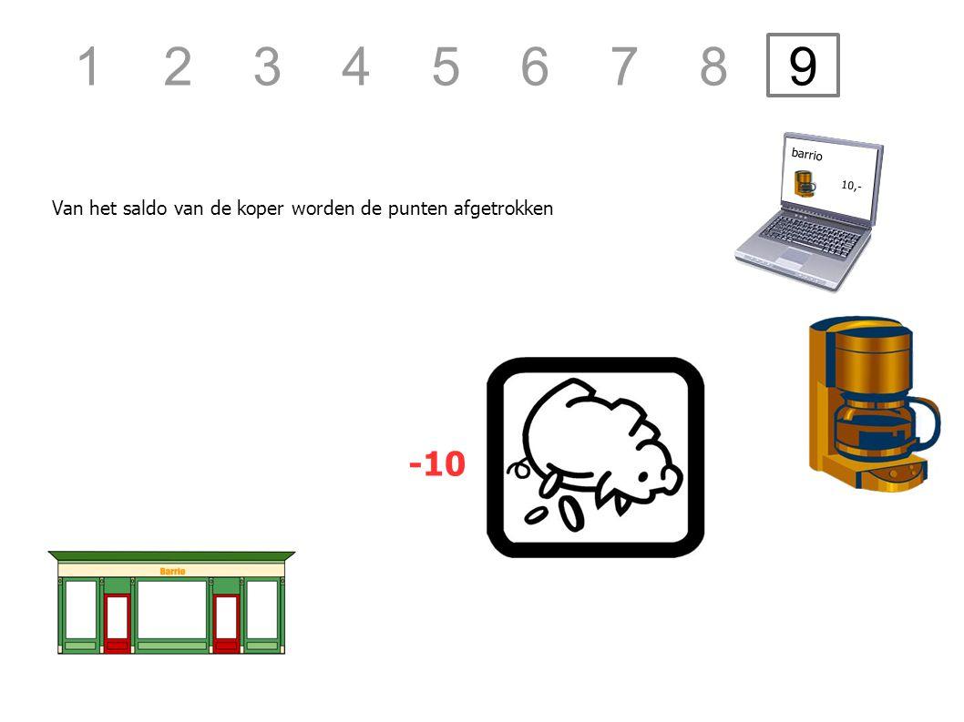 Van het saldo van de koper worden de punten afgetrokken barrio 10,- -10 1 2 3 4 5 6 7 8 9
