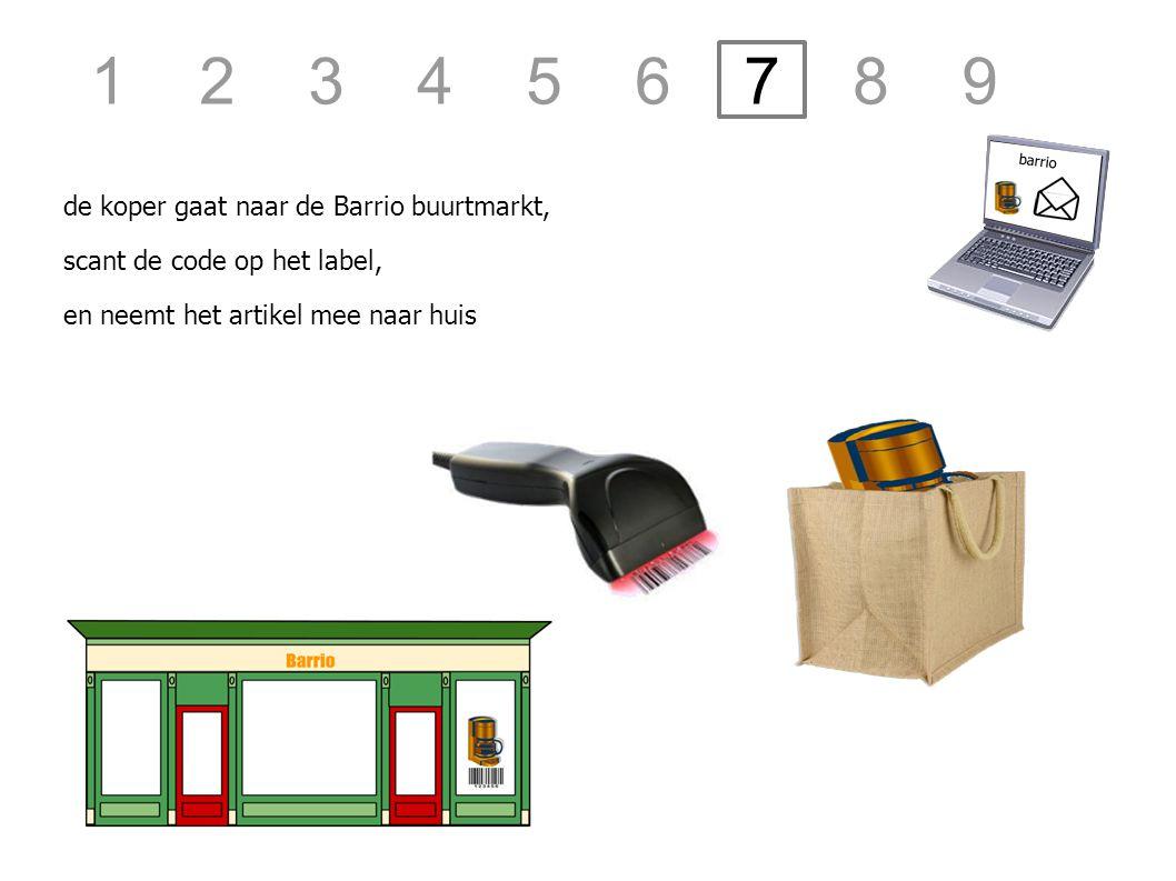 de koper gaat naar de Barrio buurtmarkt, barrio scant de code op het label, en neemt het artikel mee naar huis 1 2 3 4 5 6 7 8 9