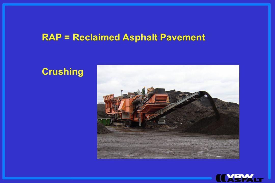 RAP = Reclaimed Asphalt Pavement Crushing