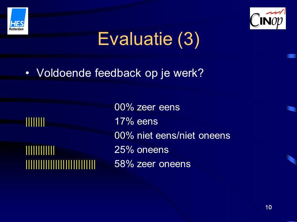 10 Evaluatie (3) Voldoende feedback op je werk.