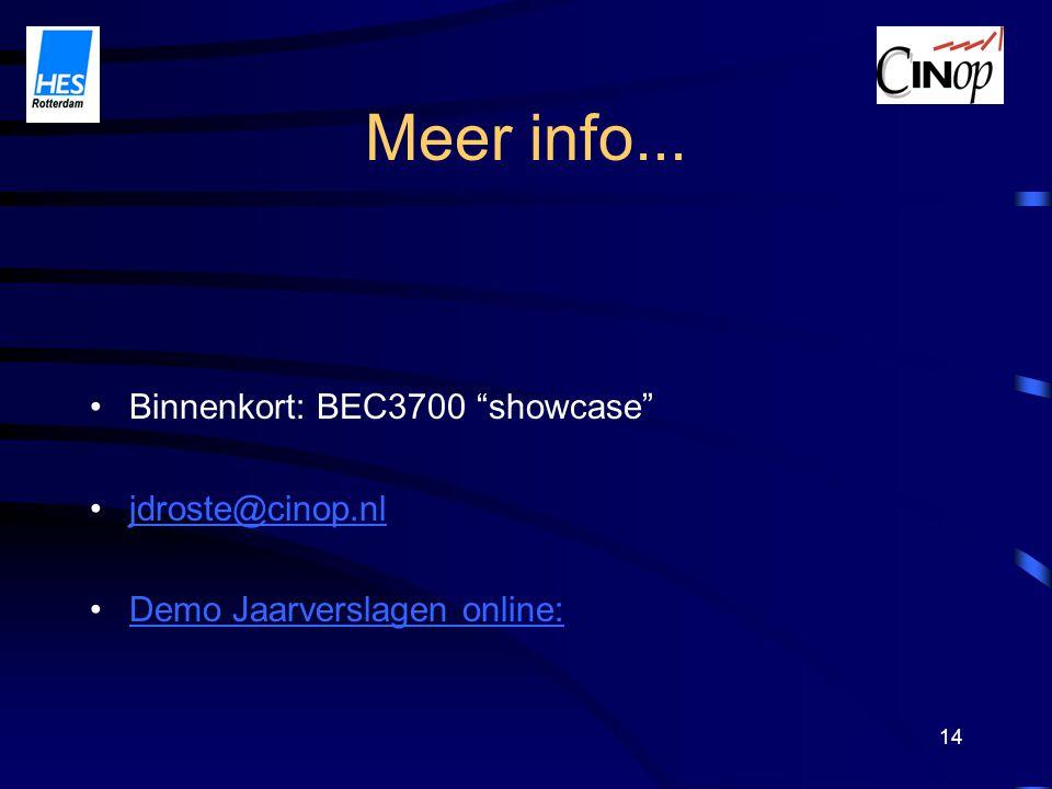 14 Meer info... Binnenkort: BEC3700 showcase jdroste@cinop.nl Demo Jaarverslagen online:
