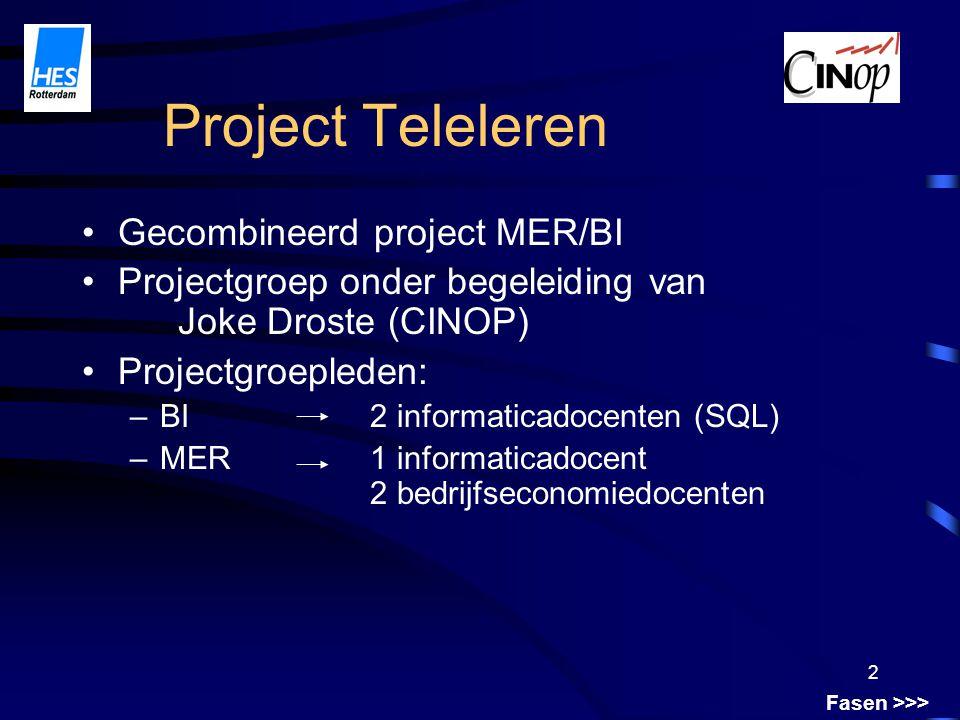 2 Project Teleleren Fasen >>> Gecombineerd project MER/BI Projectgroep onder begeleiding van Joke Droste (CINOP) Projectgroepleden: –BI2 informaticadocenten (SQL) –MER1 informaticadocent 2 bedrijfseconomiedocenten