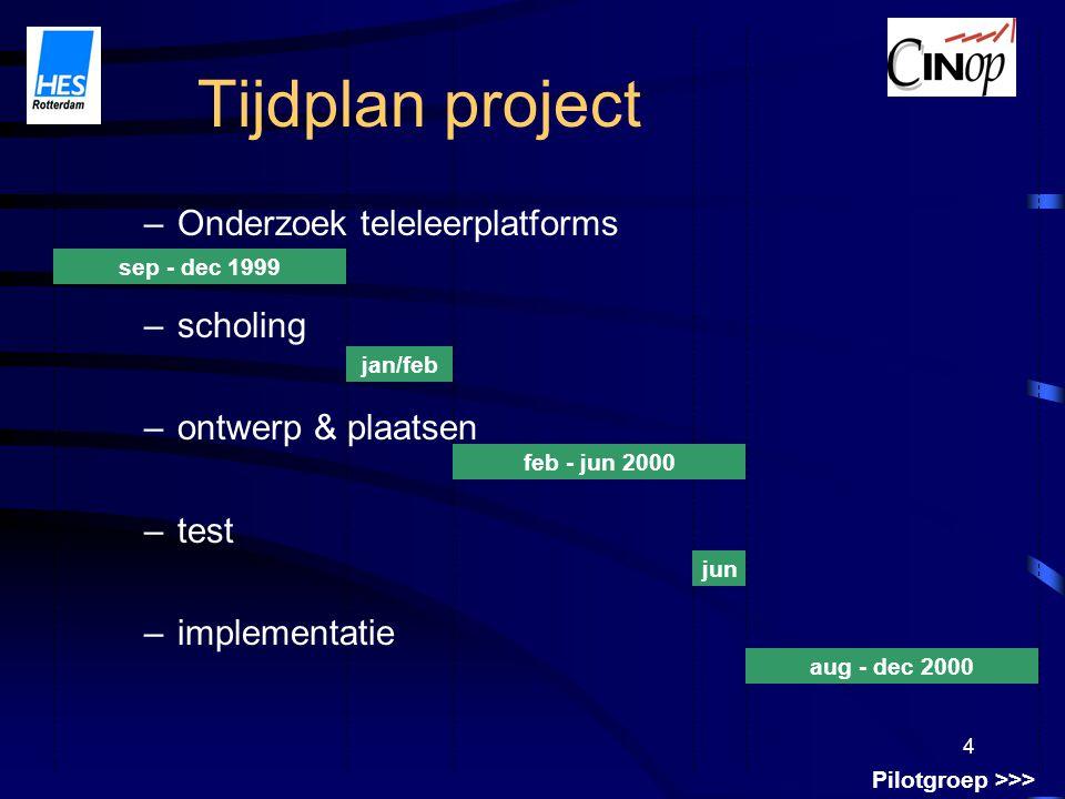 4 Tijdplan project –Onderzoek teleleerplatforms –scholing –ontwerp & plaatsen –test –implementatie sep - dec 1999 aug - dec 2000 jan/feb feb - jun 2000 jun Pilotgroep >>>