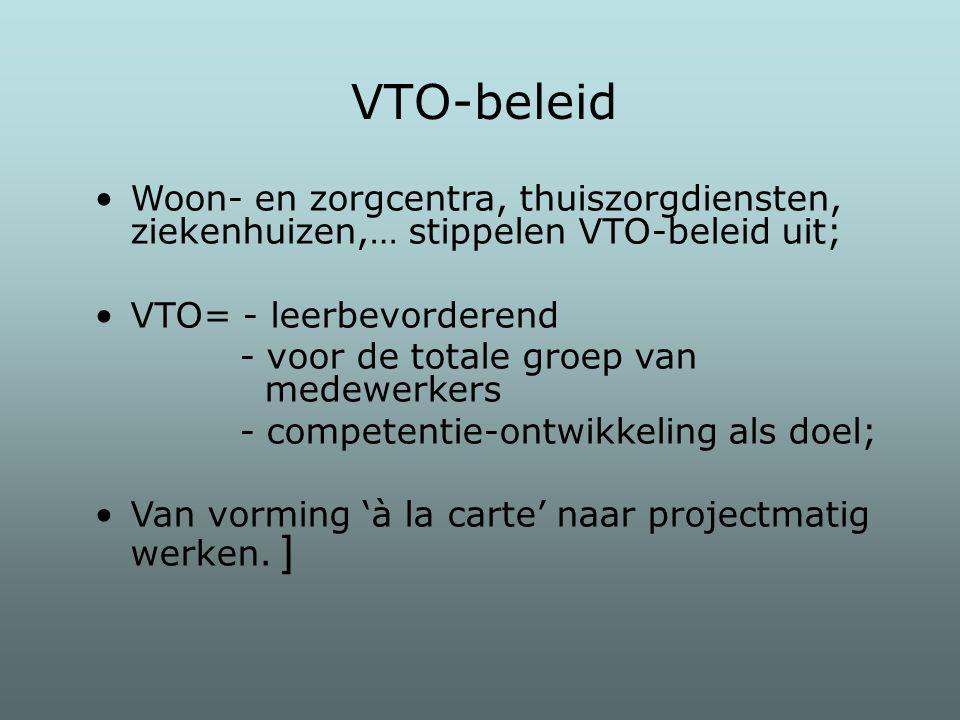 Woon- en zorgcentra, thuiszorgdiensten, ziekenhuizen,… stippelen VTO-beleid uit; VTO= - leerbevorderend - voor de totale groep van medewerkers - compe