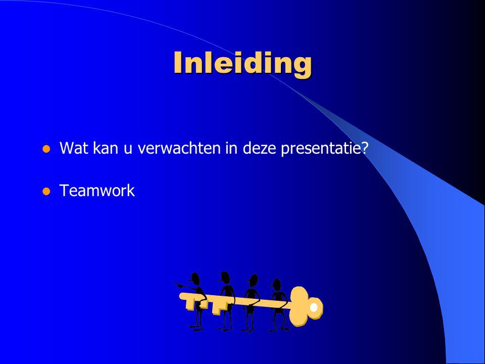 Inleiding Wat kan u verwachten in deze presentatie? Teamwork