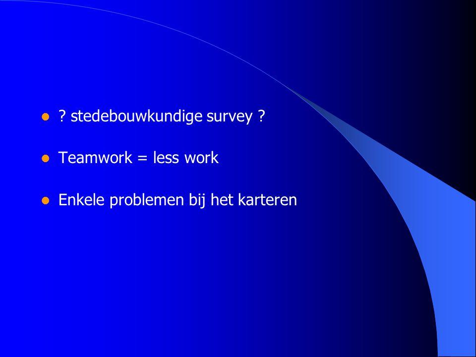 ? stedebouwkundige survey ? Teamwork = less work Enkele problemen bij het karteren