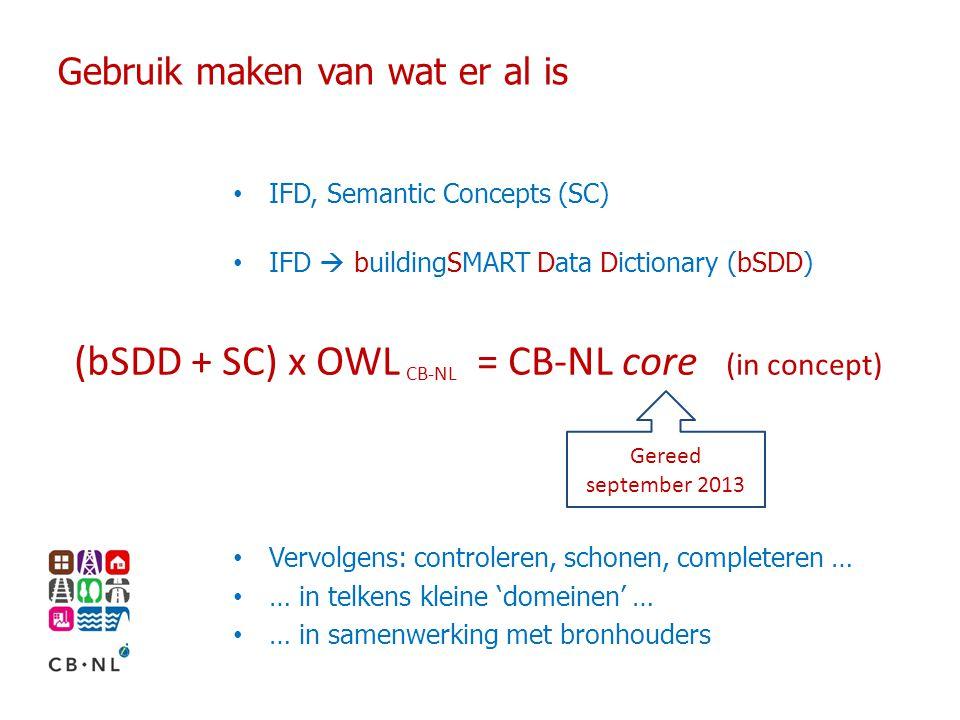 Gebruik maken van wat er al is IFD, Semantic Concepts (SC) IFD  buildingSMART Data Dictionary (bSDD) Vervolgens: controleren, schonen, completeren … … in telkens kleine 'domeinen' … … in samenwerking met bronhouders (bSDD + SC) x OWL = CB-NL core (in concept) CB-NL Gereed september 2013