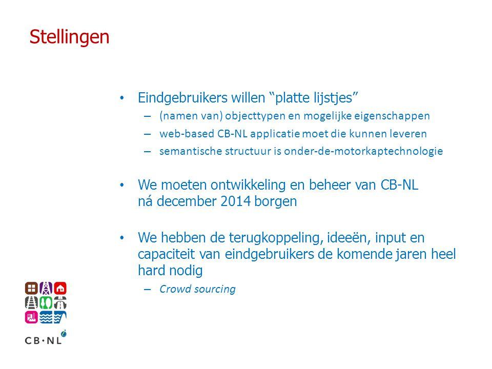 """Stellingen Eindgebruikers willen """"platte lijstjes"""" – (namen van) objecttypen en mogelijke eigenschappen – web-based CB-NL applicatie moet die kunnen l"""