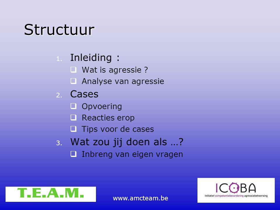 www.amcteam.be Structuur 1. Inleiding :  Wat is agressie ?  Analyse van agressie 2. Cases  Opvoering  Reacties erop  Tips voor de cases 3. Wat zo