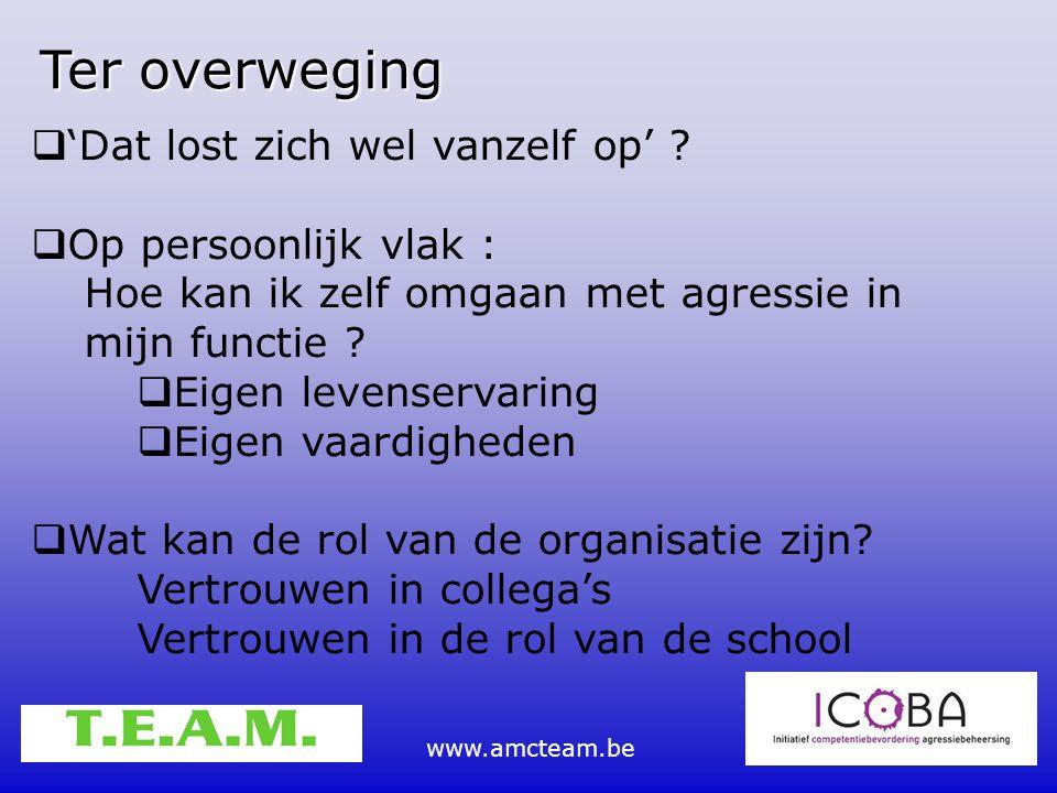 www.amcteam.be  'Dat lost zich wel vanzelf op' ?  Op persoonlijk vlak : Hoe kan ik zelf omgaan met agressie in mijn functie ?  Eigen levenservaring