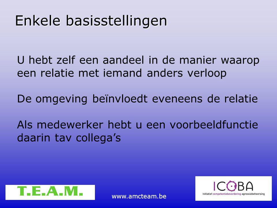 www.amcteam.be Enkele basisstellingen U hebt zelf een aandeel in de manier waarop een relatie met iemand anders verloop De omgeving beïnvloedt eveneen