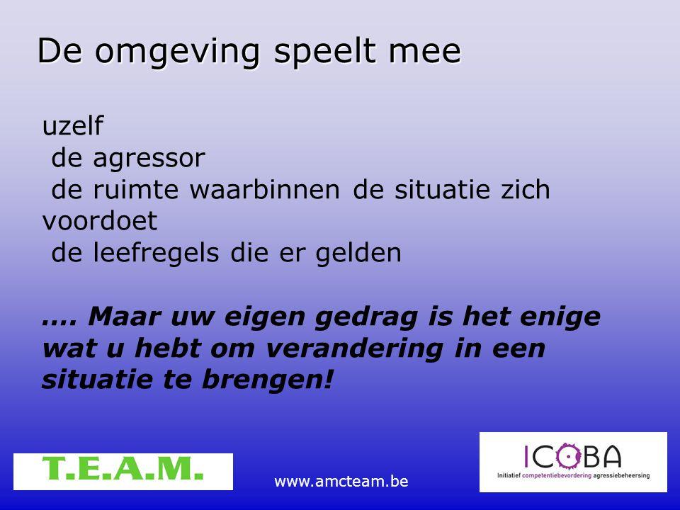 www.amcteam.be De omgeving speelt mee uzelf de agressor de ruimte waarbinnen de situatie zich voordoet de leefregels die er gelden …. Maar uw eigen ge