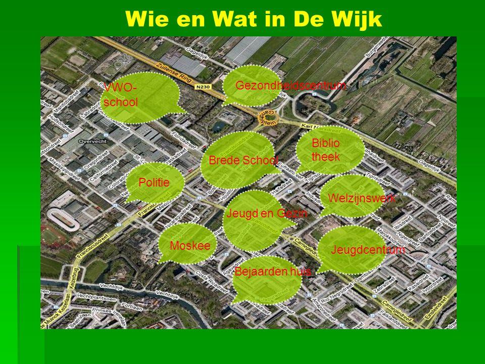 Brede School VWO- school Bejaarden huis Jeugdcentrum Biblio theek Politie Welzijnswerk Jeugd en Gezin Wie en Wat in De Wijk Moskee Gezondheidscentrum