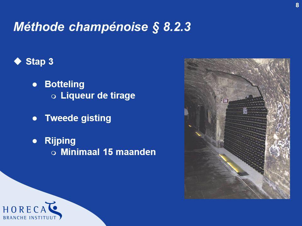 8 Méthode champénoise § 8.2.3 uStap 3 l Botteling m Liqueur de tirage l Tweede gisting l Rijping m Minimaal 15 maanden