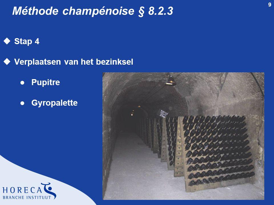 9 Méthode champénoise § 8.2.3 uStap 4 uVerplaatsen van het bezinksel l Pupitre l Gyropalette