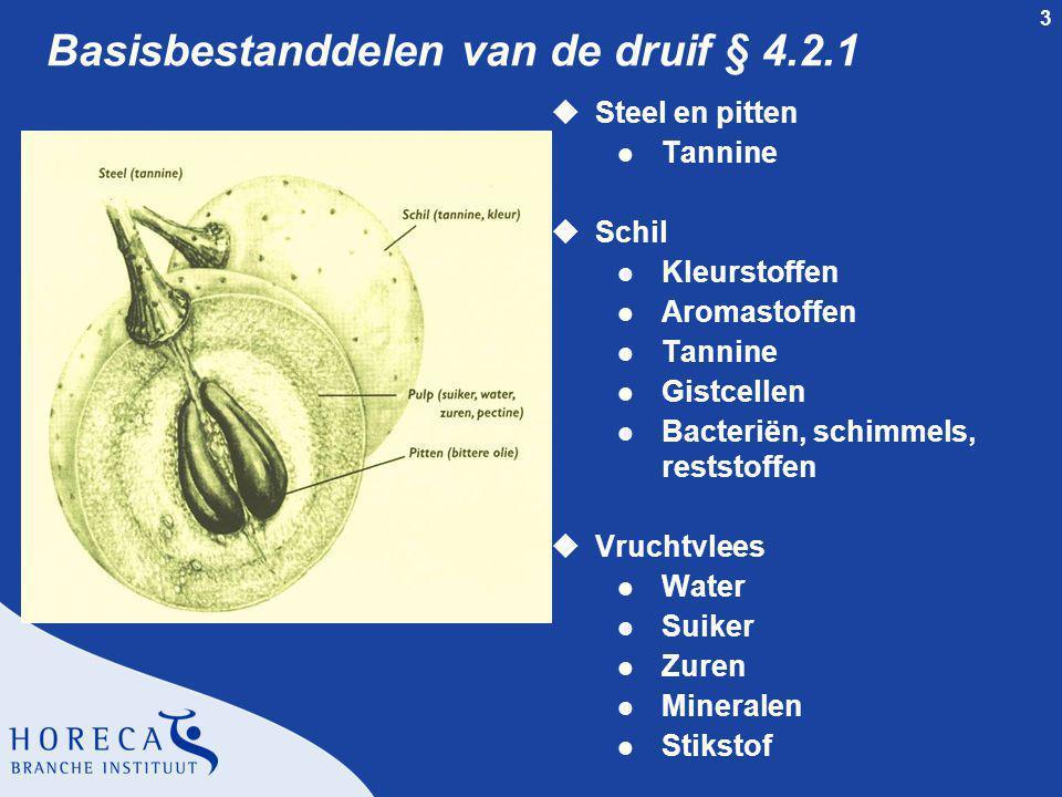 3 Basisbestanddelen van de druif § 4.2.1 uSteel en pitten l Tannine uSchil l Kleurstoffen l Aromastoffen l Tannine l Gistcellen l Bacteriën, schimmels, reststoffen uVruchtvlees l Water l Suiker l Zuren l Mineralen l Stikstof