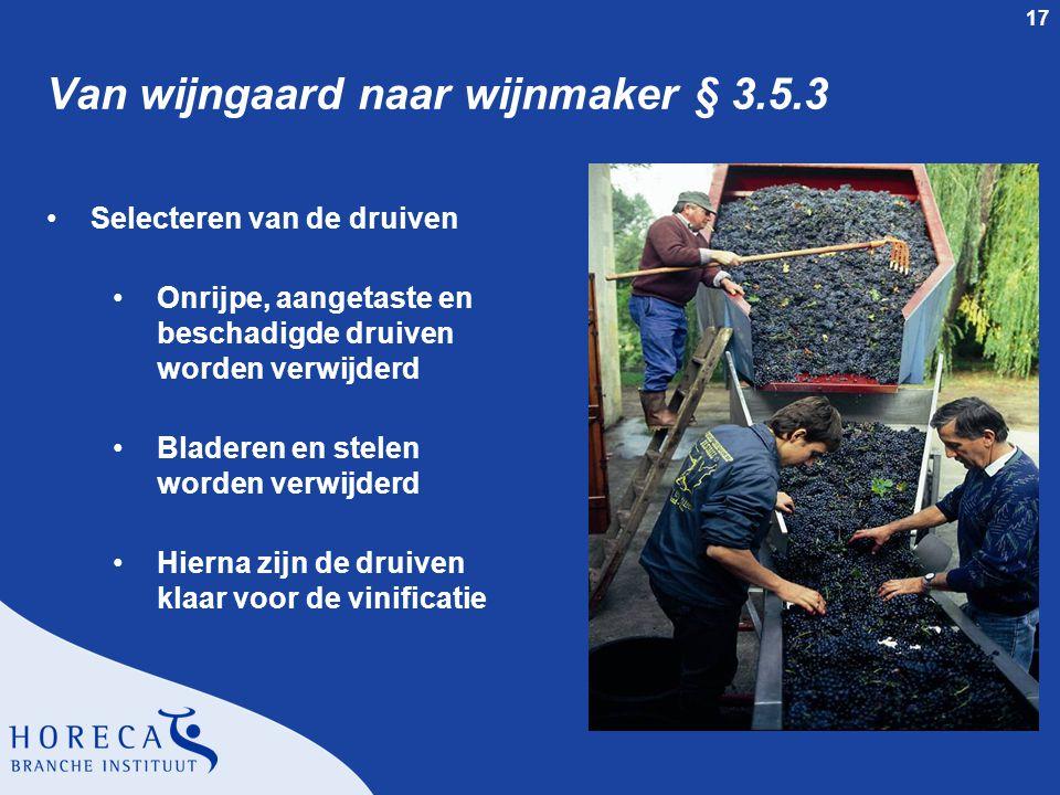 17 Van wijngaard naar wijnmaker § 3.5.3 Selecteren van de druiven Onrijpe, aangetaste en beschadigde druiven worden verwijderd Bladeren en stelen word