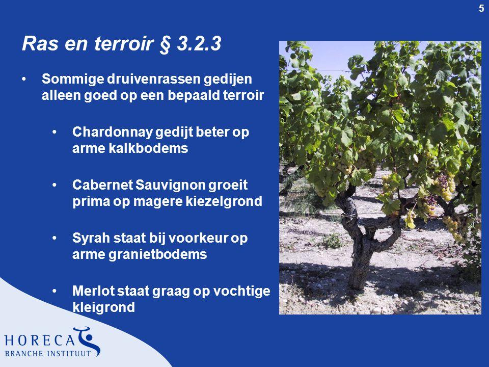 5 Ras en terroir § 3.2.3 Sommige druivenrassen gedijen alleen goed op een bepaald terroir Chardonnay gedijt beter op arme kalkbodems Cabernet Sauvigno