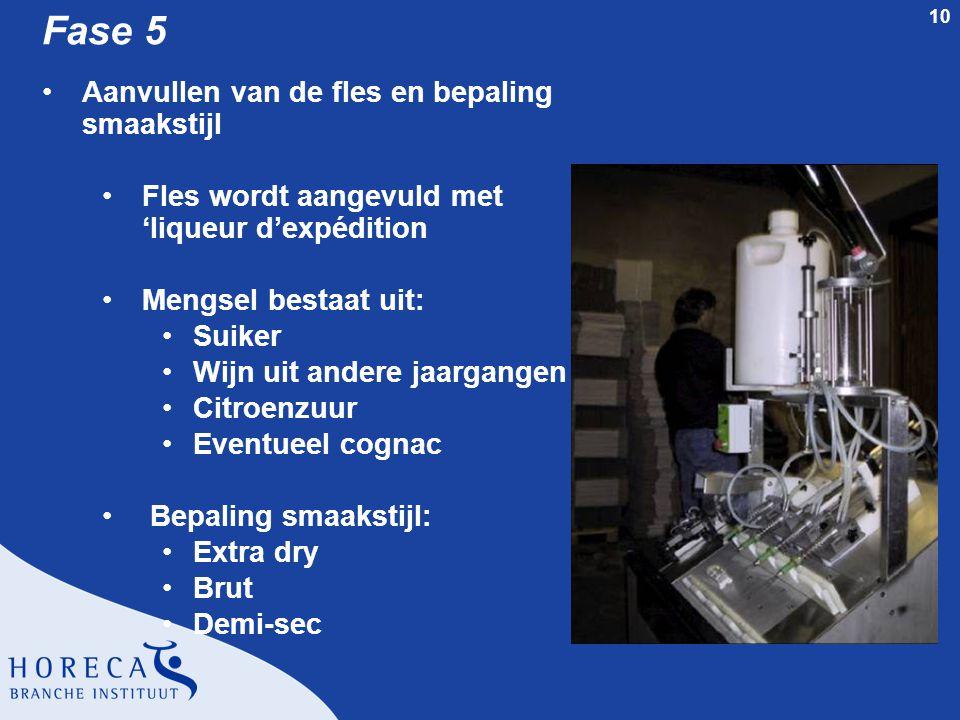 10 Fase 5 Aanvullen van de fles en bepaling smaakstijl Fles wordt aangevuld met 'liqueur d'expédition Mengsel bestaat uit: Suiker Wijn uit andere jaar