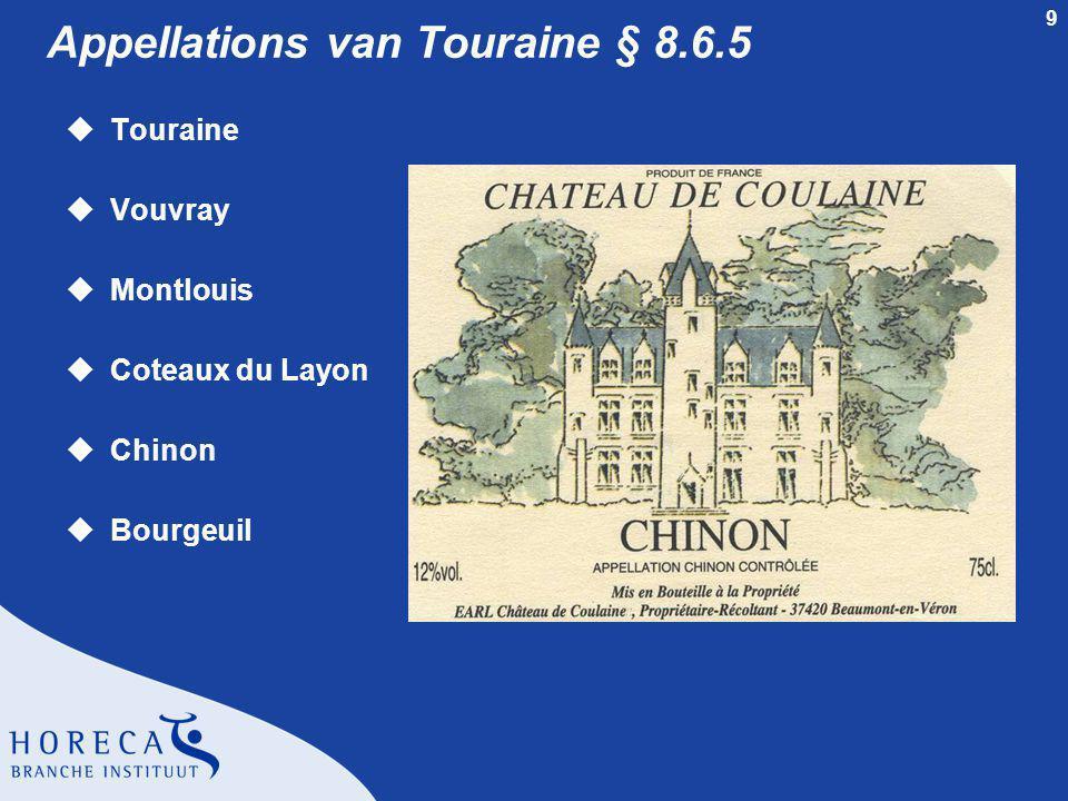 10 Appellation Touraine § 8.6.5 uWitte wijn l Sauvignon uRode wijn l Gamay
