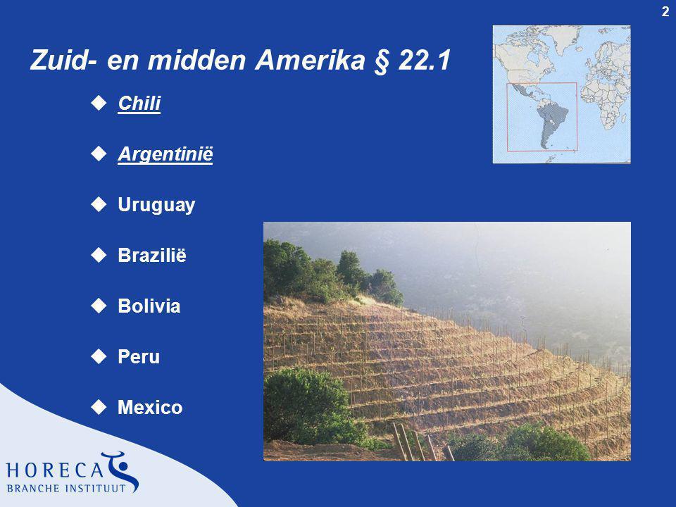 13 Wijngebied Mendoza § 23.3.3 uNoordelijke regio m 700 mtr boven zeeniveau uOostelijke regio m 33° zuiderbreedte m 700 mtr hoogte uCentrale regio m Grote temperatuur verschillen m 750-1060 mtr hoogte uUco Valley m Grote temperatuur verschillen m 900-1250 mtr hoogte uZuidelijke regio m 450-800 mtr hoogte