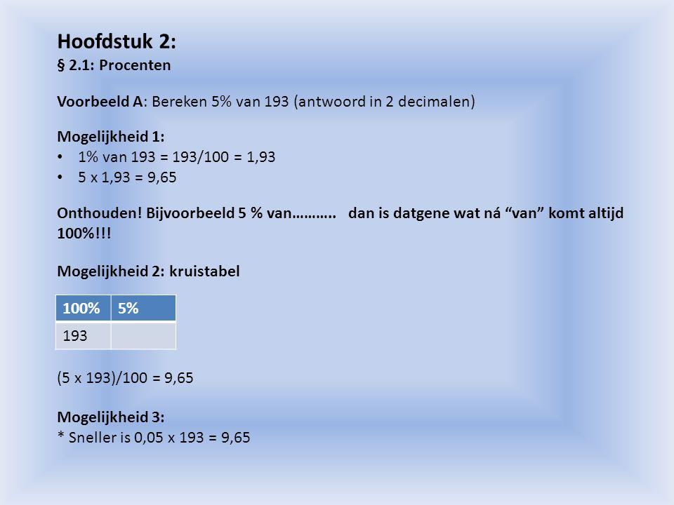 Voorbeeld B: Bereken: 1: 8,4 % van 196 2: 12,89 % van 34 3: 36 = …..% van 49 4: 128.750 = ……………….