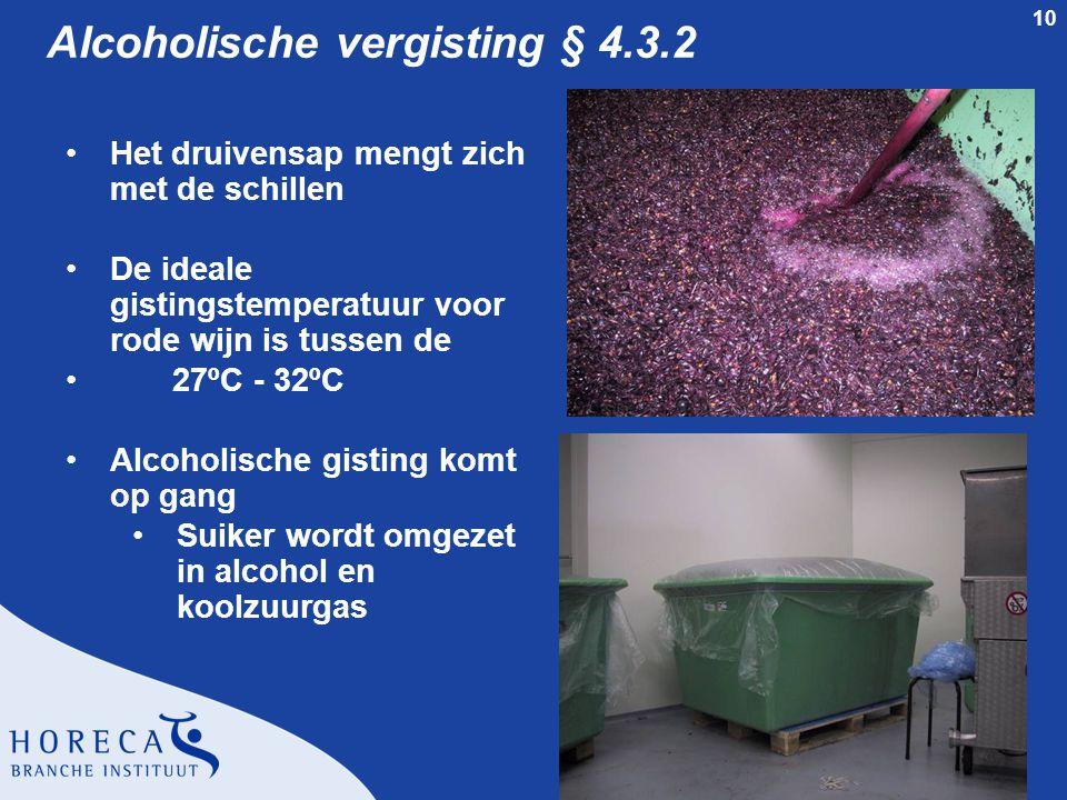 10 Alcoholische vergisting § 4.3.2 Het druivensap mengt zich met de schillen De ideale gistingstemperatuur voor rode wijn is tussen de 27ºC - 32ºC Alc