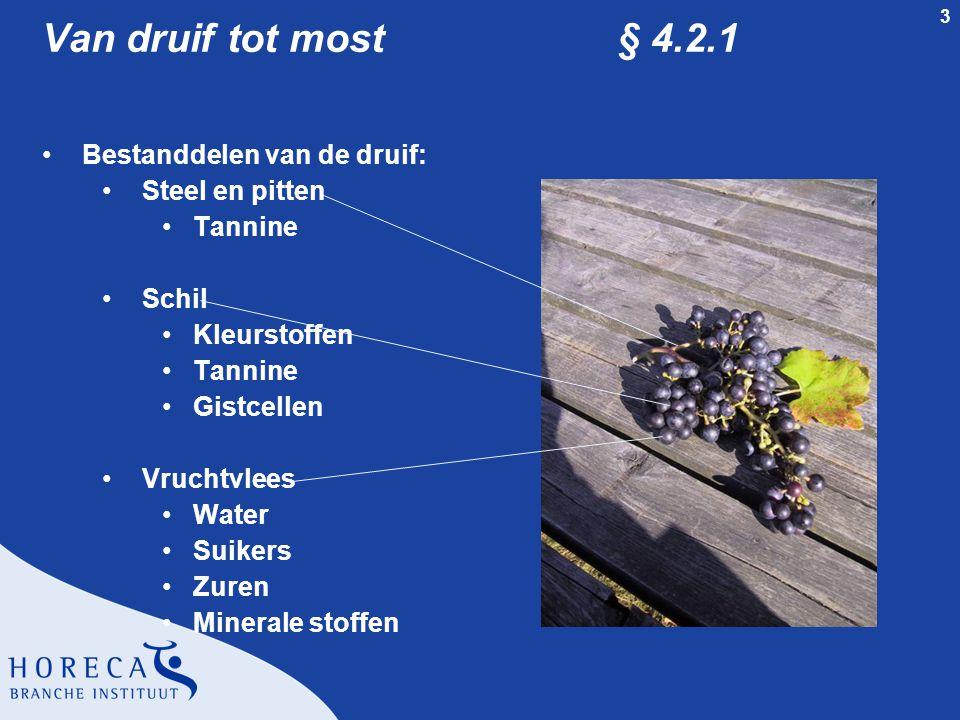 3 Van druif tot most § 4.2.1 Bestanddelen van de druif: Steel en pitten Tannine Schil Kleurstoffen Tannine Gistcellen Vruchtvlees Water Suikers Zuren