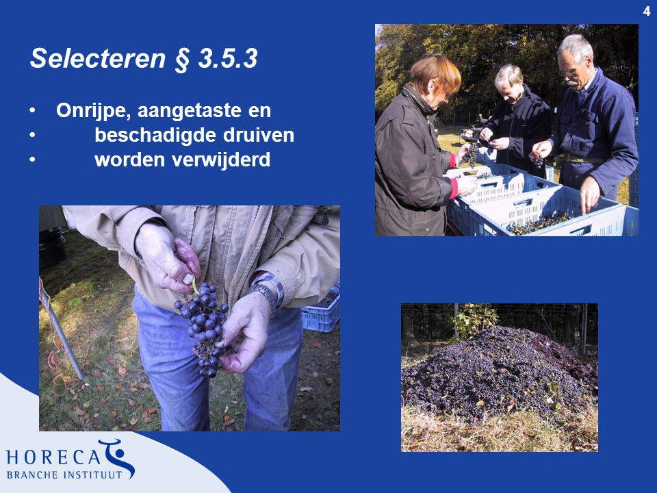 4 Selecteren § 3.5.3 Onrijpe, aangetaste en beschadigde druiven worden verwijderd