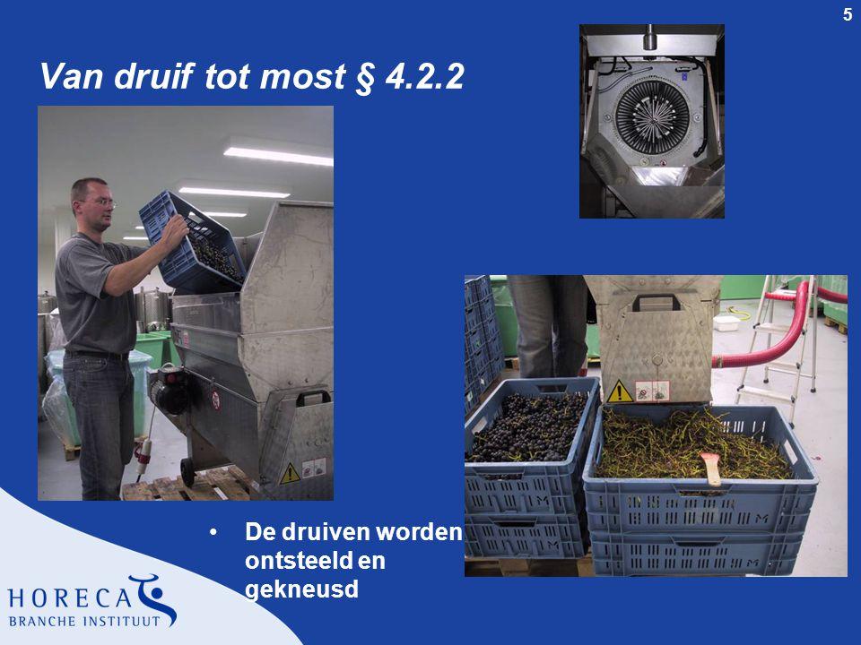 5 Van druif tot most § 4.2.2 De druiven worden ontsteeld en gekneusd