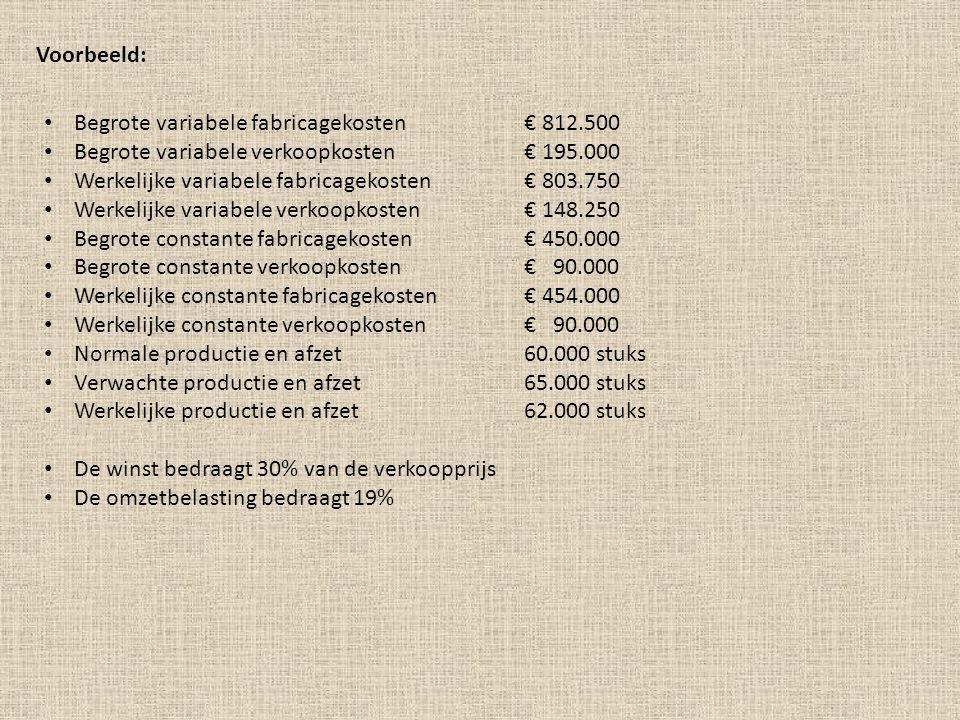 Voorbeeld: Begrote variabele fabricagekosten€ 812.500 Begrote variabele verkoopkosten€ 195.000 Werkelijke variabele fabricagekosten€ 803.750 Werkelijk