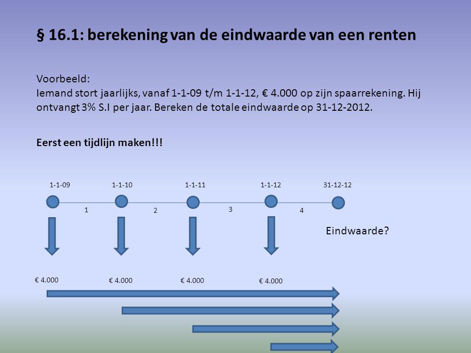 Het kapitaal € 4.000 van 1-1-09 staat 4 perioden uit tegen 3% S.I per jaar; eindwaarde dus € 4.000 x (1,03)^4 = € 4.502 Het kapitaal € 4.000 van 1-1-10 staat 3 perioden uit tegen 3% S.I per jaar; eindwaarde dus € 4.000 x (1,03)^3 = € 4.371 Het kapitaal € 4.000 van 1-1-11 staat 2 perioden uit tegen 3% S.I per jaar; eindwaarde dus € 4.000 x (1,03)^2 = € 4.244 Het kapitaal € 4.000 van 1-1-12 staat 1 periode uit tegen 3% S.I per jaar; eindwaarde dus € 4.000 x (1,03) = € 4.120 Totale eindwaarde is dus de 4 afzonderlijke eindwaarden opgeteld: € 17.237 Totaal ontvangen interest in de 4 perioden is € 17.237 – 4 x € 4.000 = € 1.237 Bereken de totale eindwaarde op 31-12-2015.