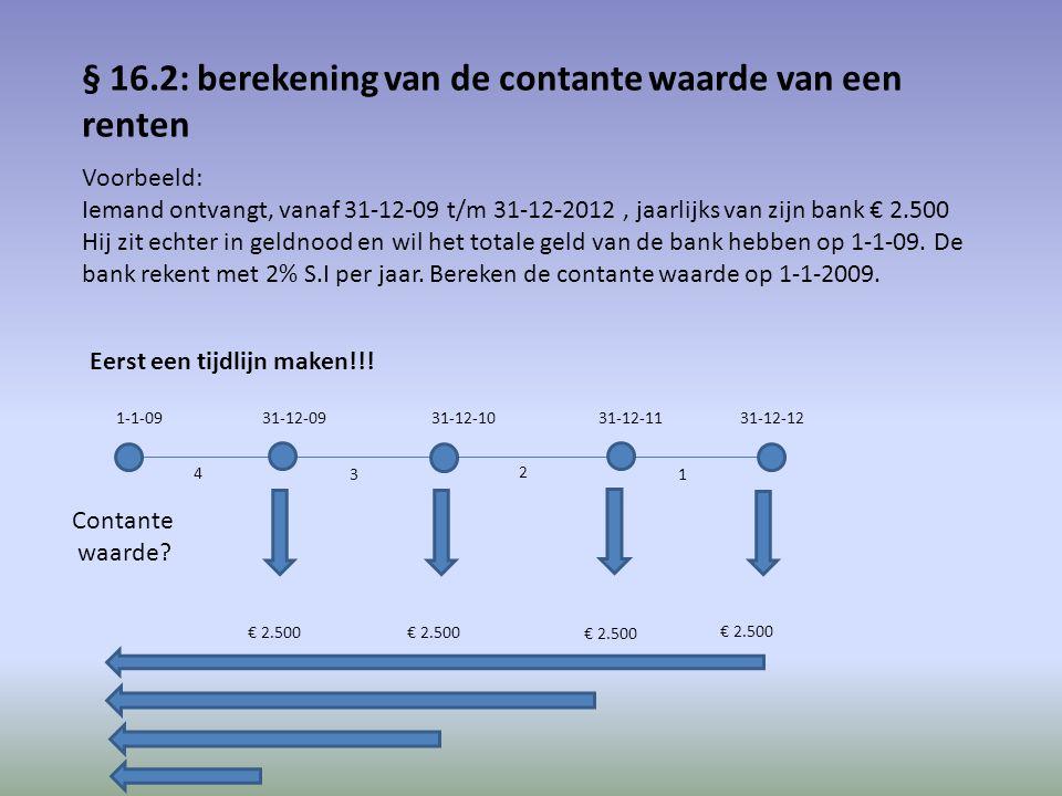 Het kapitaal € 2.500 van 31-12-12 moet 4 perioden terug gebracht worden tegen 2% S.I per jaar; contante waarde dus € 2.500 /(1,02)^4 = € 2.310 Het kapitaal € 2.500 van 31-12-11 moet 3 perioden terug gebracht worden tegen 2% S.I per jaar; contante waarde dus € 2.500 /(1,02)^3 = € 2.356 Het kapitaal € 2.500 van 31-12-10 moet 2 perioden terug gebracht worden tegen 2% S.I per jaar; contante waarde dus € 2.500 /(1,02)^2 = € 2.403 Het kapitaal € 2.500 van 31-12-09 moet 1 periode terug gebracht worden tegen 2% S.I per jaar; contante waarde dus € 2.500 /(1,02) = € 2.451 Totale contante waarde is dus de 4 afzonderlijke contante waarden opgeteld: € 9.520 Totaal verlies in de 4 perioden is 4 x € 2.500 - € 9.520 = € 480 Je begrijp dat voorgaande manier van uitrekenen vrij omslachtig is.