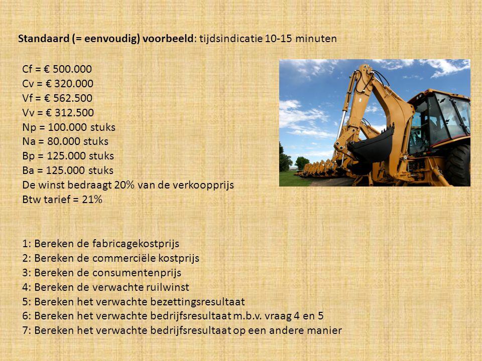 Antwoorden: 1: Bereken de fabricagekostprijs = (Cf/Np) + (Vf/Bp) (500.000/100.000) + (562.500/125.000) = € 5 + € 4,5 = € 9,50 Uitsplitsen!..