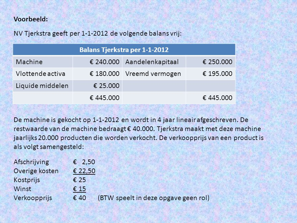 Voorbeeld: NV Tjerkstra geeft per 1-1-2012 de volgende balans vrij: Balans Tjerkstra per 1-1-2012 Machine€ 240.000Aandelenkapitaal€ 250.000 Vlottende