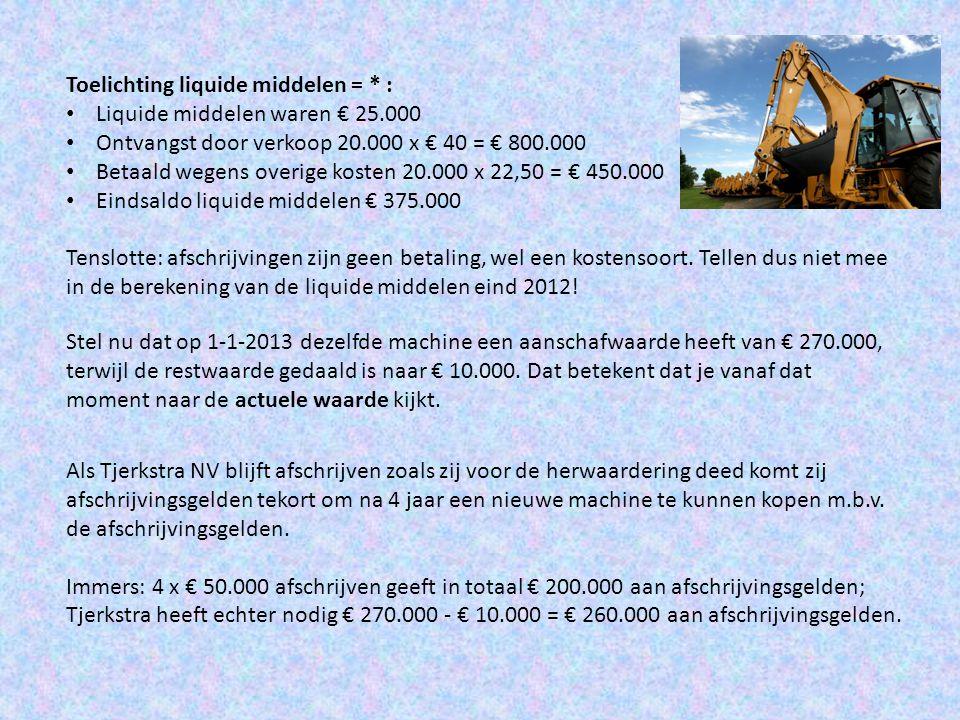 Toelichting liquide middelen = * : Liquide middelen waren € 25.000 Ontvangst door verkoop 20.000 x € 40 = € 800.000 Betaald wegens overige kosten 20.0