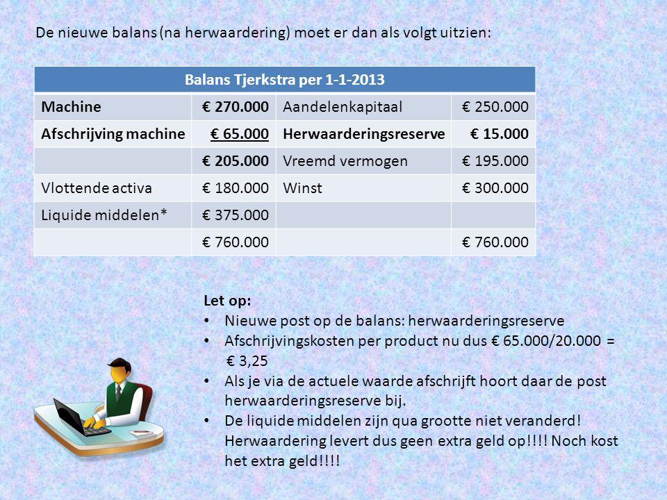 De nieuwe balans (na herwaardering) moet er dan als volgt uitzien: Balans Tjerkstra per 1-1-2013 Machine€ 270.000Aandelenkapitaal€ 250.000 Afschrijvin