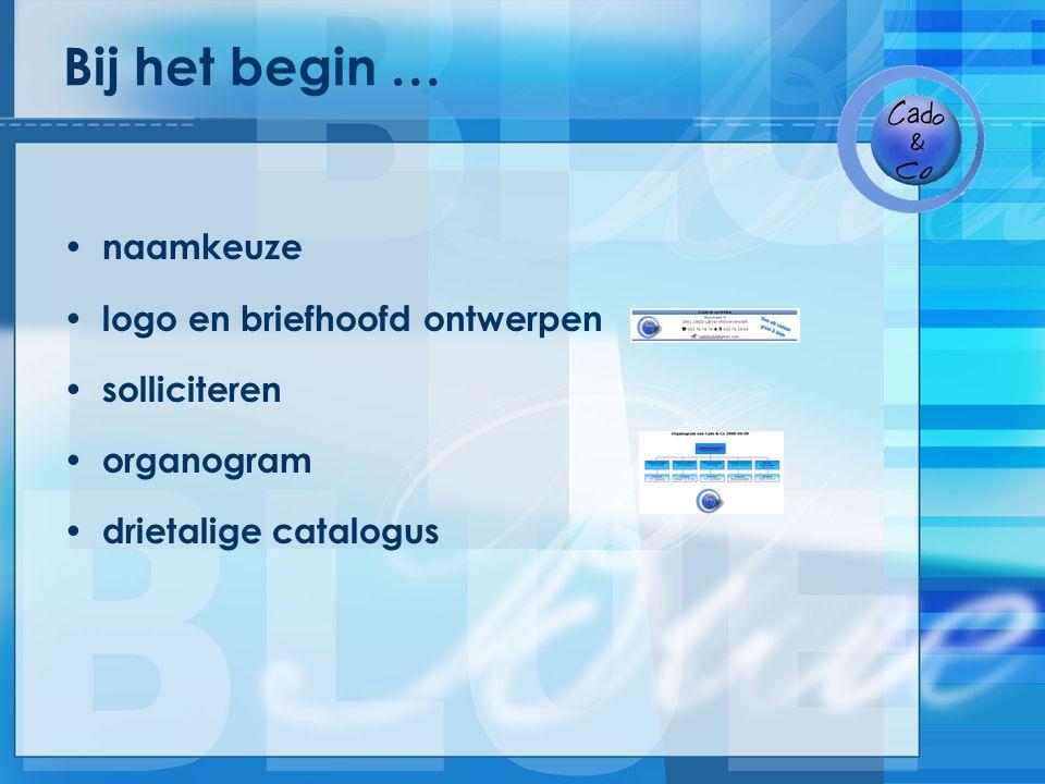 Bij het begin … naamkeuze logo en briefhoofd ontwerpen solliciteren organogram drietalige catalogus